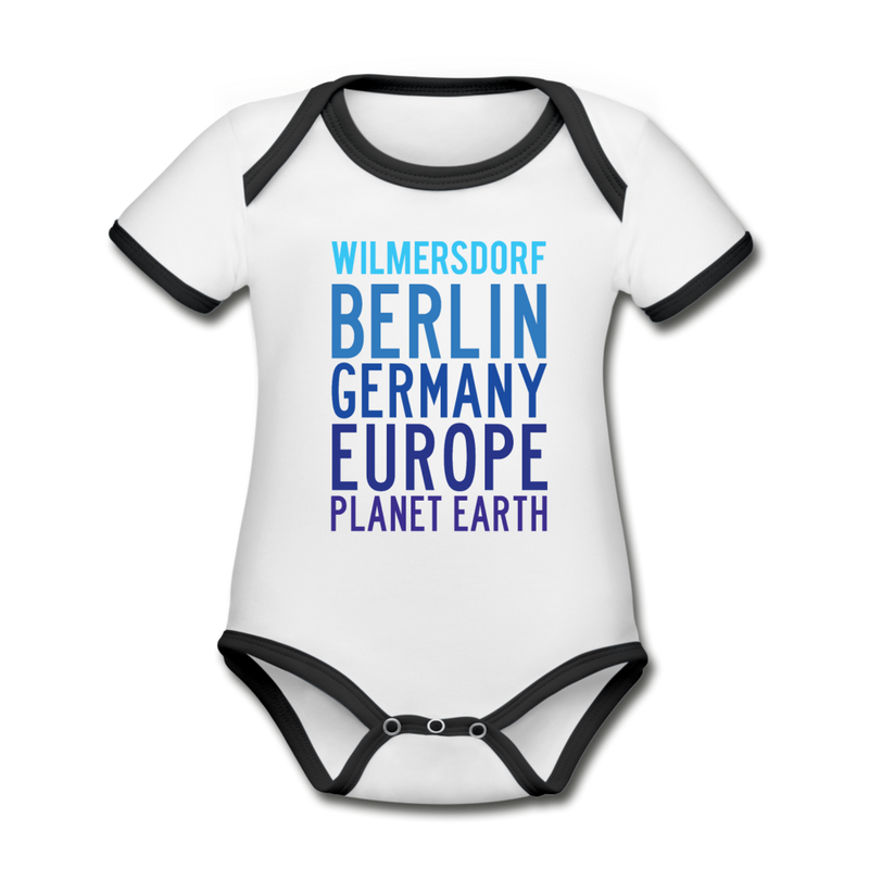 Wilmersdorf Planet Earth - Baby Bio-Kurzarm-Kontrastbody - heather grey/navy