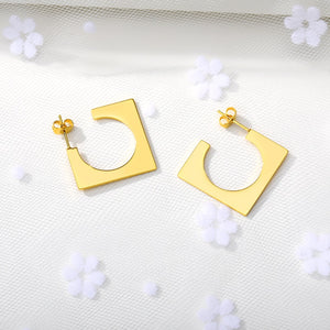 Square Cut Out Hoop Earrings