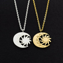 Load image into Gallery viewer, Crescent Moon And Sun Necklace