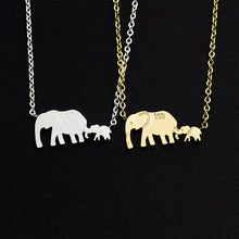 Load image into Gallery viewer, Mama & Baby Elephant Necklace