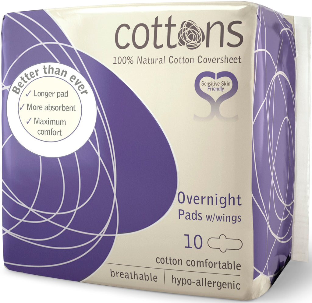 COTTONS Ultra Thin Pads with Wings Overnight 10 pcs - nature as shop