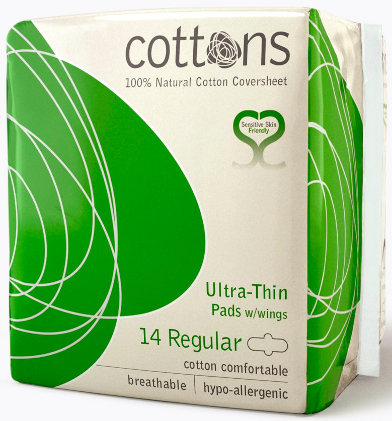 COTTONS Ultra Thin Pads with Wings Regular 14 pcs - nature as shop