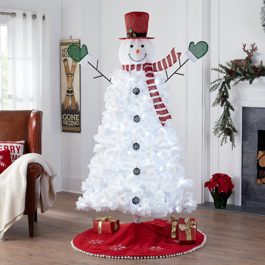 Holiday Time Pre-Lit Snowman Artificial Christmas Tree, White Lights, White  Color, 6.5\'
