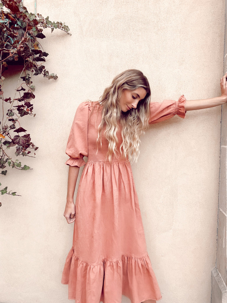 Peach Milkmaid Dress *Maxi*