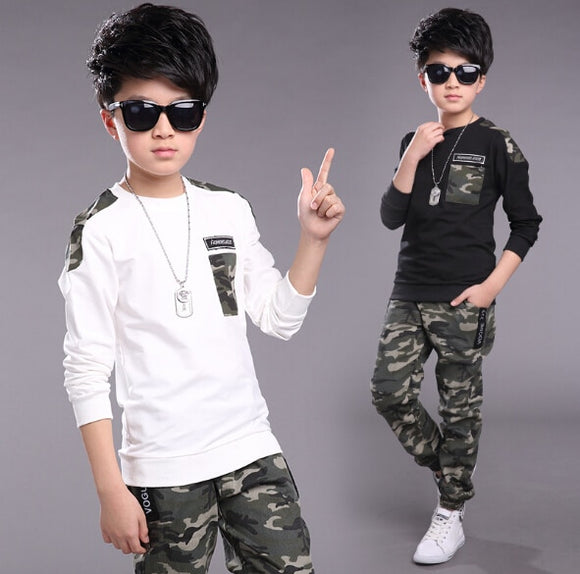 Children Clothing Sets For Boys Camouflage Sports Suits Spring Kids Tracksuits 2019 Teenage Boys Sportswear 4 6 8 9 10 12 Years