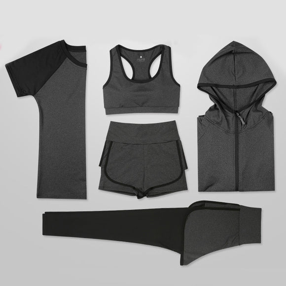 New Set Women's Yoga Bra Sport Suit Quick Dry 5 Piece Shorts Female Short-sleeve Long Pants Outdoor Sportswear Suit Fitness