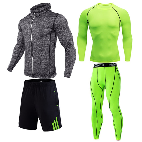 2019 Quick Dry Men's Running Sets 1-4 pcs/sets Compression Sport Suits Basketball Tights Clothes Gym Fitness Jogging Sportswear