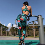 Tracksuit For Women 2 Piece Yoga Set Floral Print Women Bra+Long Pants Sportsuit For Women Fitness Sport Suit Women Sportswear