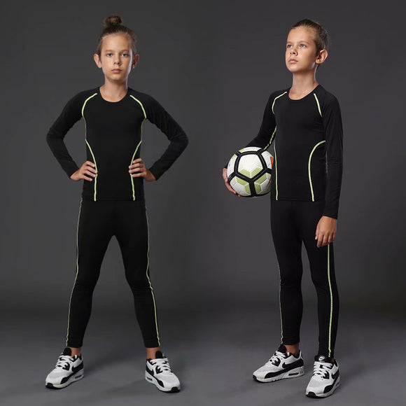 Children's Boxing Compression Set Sweatshirt + Pants Kids Running Football T-Shirt Tights Youth Sportswear