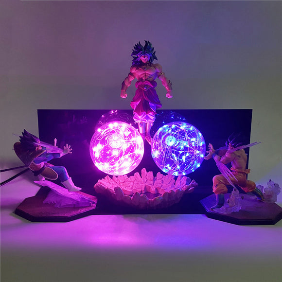 Table Lamp Dragon Ball Z Goku Vegeta VS Broly Night Lights 3D LED DIY Set Super Saiyan Action Figures Lighting Lampara Xmas Gift