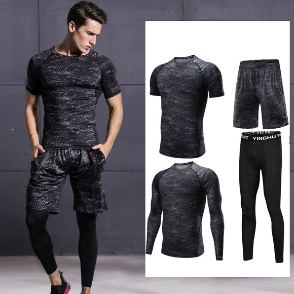 4pcs Men Gym Fitness Clothing Sportswear Male Gym Running Sets Fitness Workout Clothes Sports Jogging Training Running Set Male