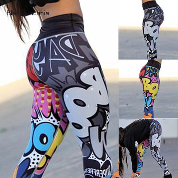 2019 Fashion Boom Graffiti Printed Sportswear Fitness Yoga Leggings Sexy Outdoor Pants High Waist Slim Yoga Running Pants