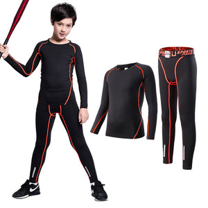 Kids Sports Suit Running Clothes Short Compression Tights Gym Fitness Shirts Leggings Soccer Basketball Quick Dry Sportswear Set