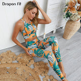 Dragon Fit Leaves Print Gym Yoga Sets 2 Piece Women Workout Fitness Suit Push-up Yoga Bra+Leggings Athletic Running Sportswear