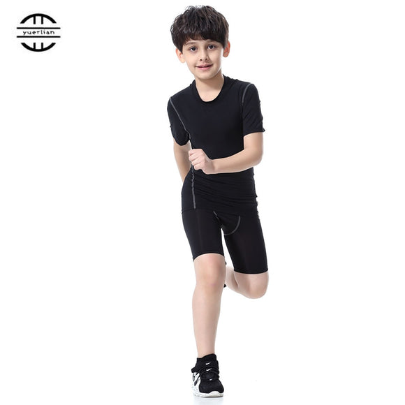 Yuerlian Children Compression Costume Fitness Tights Running Set Gym Sportswear Short T-Shirt Shorts Kids Tracksuit Sport Suit