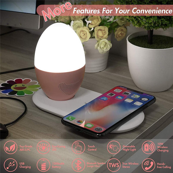 Glowing Speaker Table Lamp Household Bluetooth Audio Table Lamp Charging Bedroom Feeding Bedside Night Light Wireless Charger