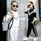 Fashion Big Girls Sports Suits Off Shoulder Black and White Clothing Set for Teenage Autumn Tracksuit Kids Plus Size Sportswear