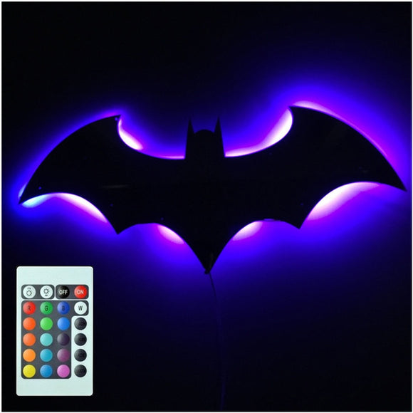 3D Batman 7 Color Mirror LED Remote Control Night Light Porch Channel Projection Wall lamp Kids Holiday Gift USB Power Supply