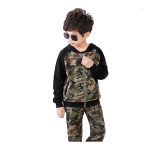 3-14Y Boys Hooded Camouflage Sports Suits Kids Sportswear Clothes Boy Spring Autumn Clothing Set 2019 Children Casual Tracksuits