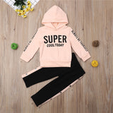 SUPER Newborn Kids Baby Girls Hooded Tops Sweatshirt Pants Tracksuit Sportswear Outfit 6-12M 1-5Y Spring Autumn Set