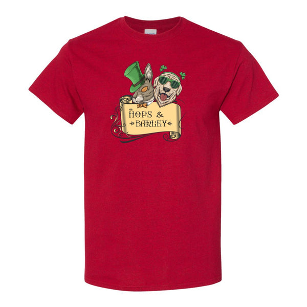 Men's Crew Neck T-shirt - Hops & Barley St. Patrick's Day Characters