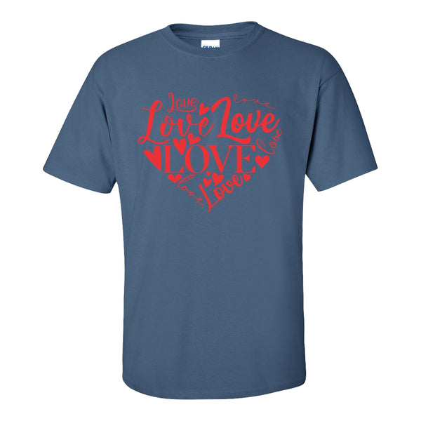 Crew Neck T-shirt - Love Is A Heart