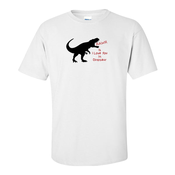 Crew Neck T-shirt - Rawr Is I Love You In Dinosaur
