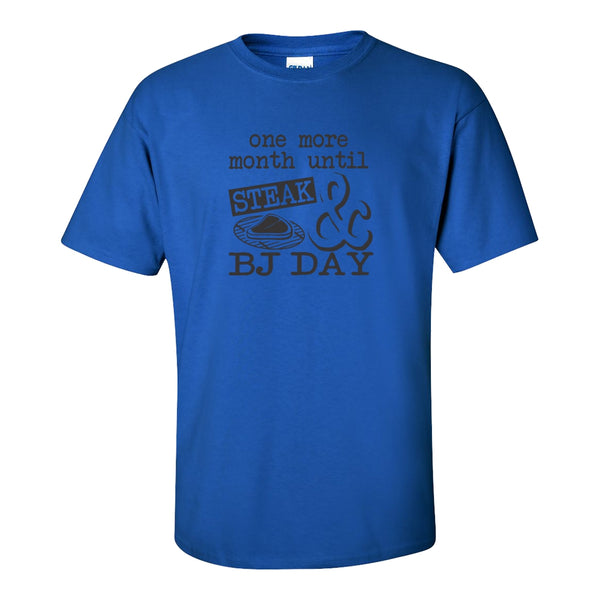 Men's Crew Neck T-shirt - Steak and BJ Day