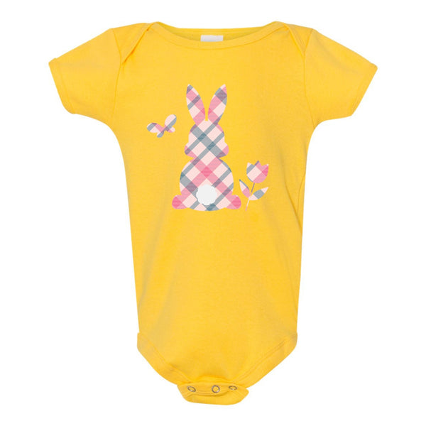 Onesie - Plaid Bunny with Fuzzy Flock Tail