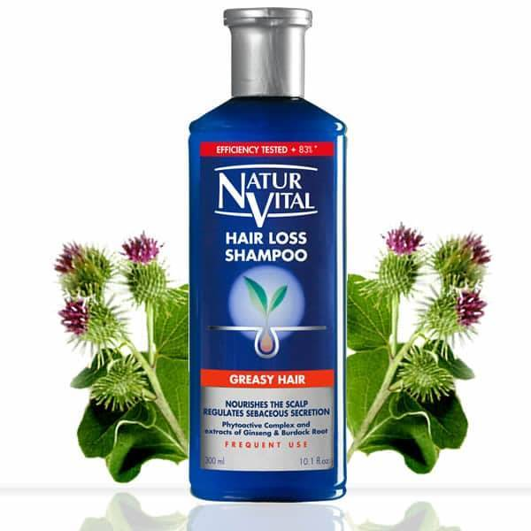 Natur Vital - Hair Loss Shampoo #Greasy Hair, Phytoactive Complex & extracts of Gingseng & Burdock Root 300ml