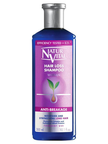 Natur Vital - Hair Loss Shampoo #Woman Anti-Breakage Nourishes & Stregthens Long Hair,  Phytoactive Complex & Hydrolized Wheat Proteins 300ml