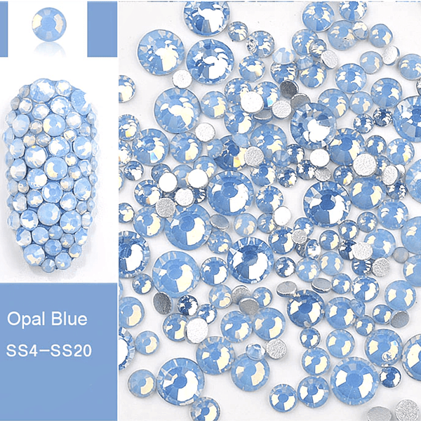 Rhinestone - Opal Glass Round FlatBack - Mixed-Size #Blue