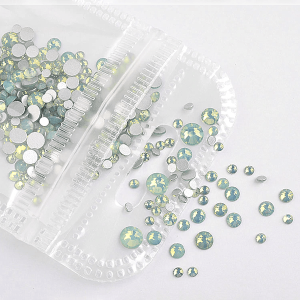 Rhinestone - Opal Glass Round FlatBack - Mixed-Size #Green