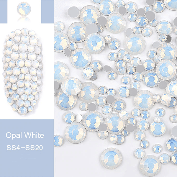 Rhinestone - Opal Glass Round FlatBack - Mixed-Size #White