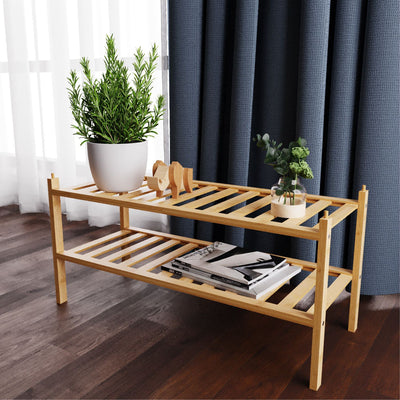 Bamboo Stackable Shoe Storage Organizer in Natural Color for living room