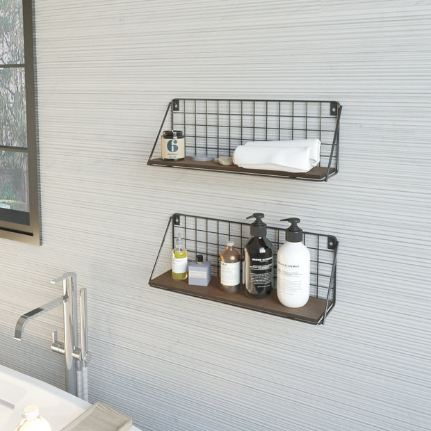 Rustic Bamboo Wall Storage Shelves for living room