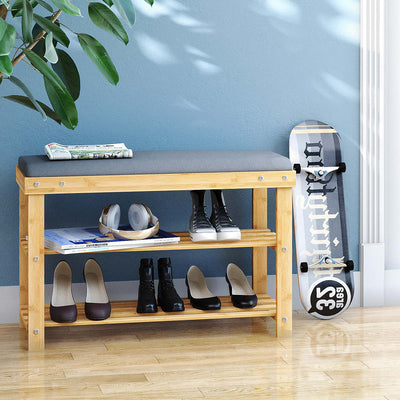 BAMFOX Modern Style Bamboo Shoe Bench Rack for entryway
