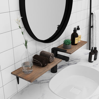 BAMFOX Natural Bamboo Wall Decor Storage Shelf for bathroom
