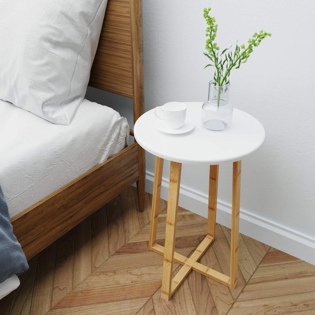 Modern Furniture for Living Room Bedroom Balcony Family and Office in White Color BAMEOS Bamboo Snack Table Sofa Console Table Side End Accent Table 2-Tier Side Table with Storage Shelf