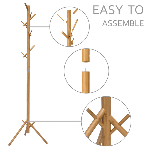 Bamboo Coat Rack 8 Hooks and Natural Color