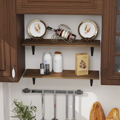 Bamboo Wall Shelf Wall Mounted Shelves with Large Storage for kitchen
