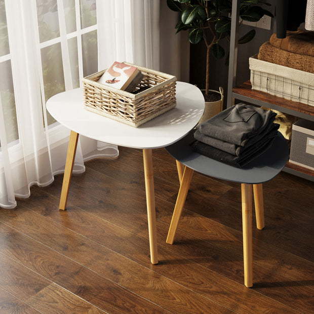 BAMEOS Bamboo Nesting Triangle End Table