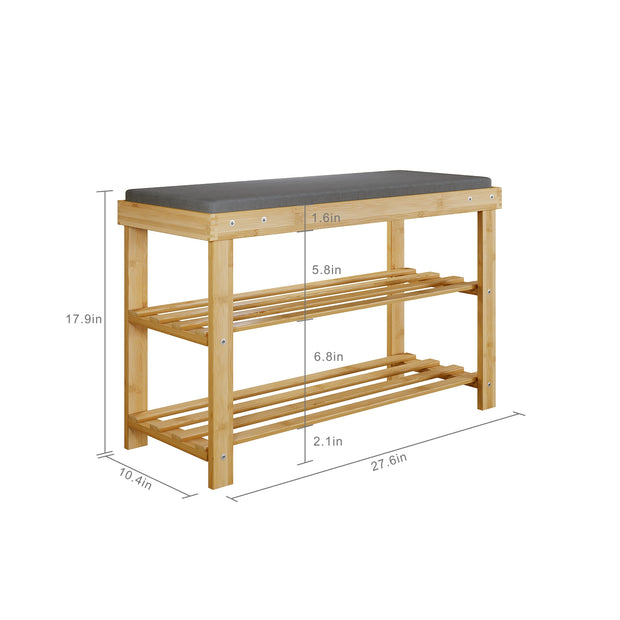 BAMFOX Upgraded Modern Style Bamboo Shoe Bench Rack
