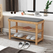 BAMFOX Modern Style Bamboo Shoe Bench Rack for living room
