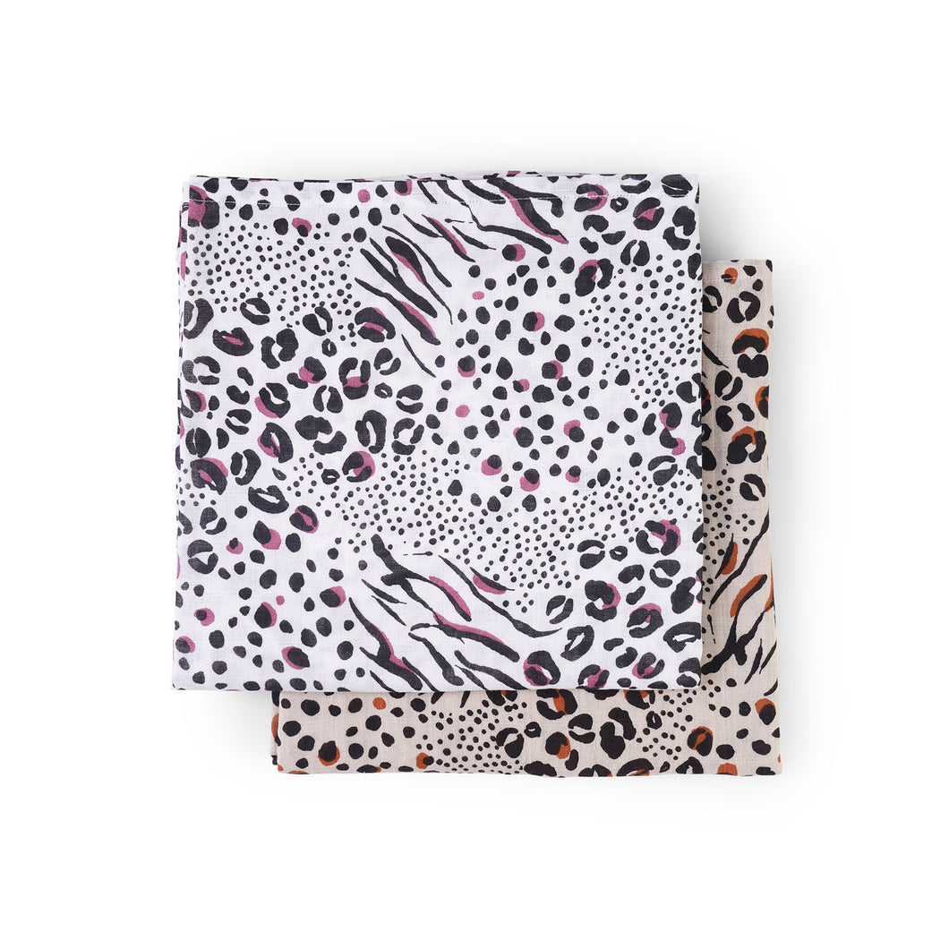 Baby swaddle 2 pack in animal print - front view