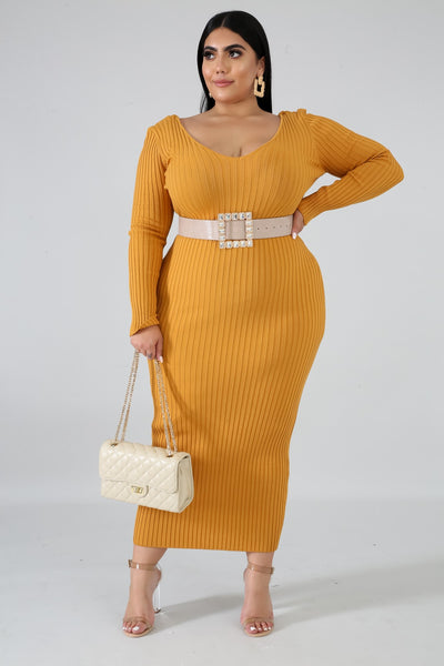 Ribbed Midi Dress (Curve Collection)