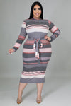 Feeling Some Stripe Of Way Dress (Curve Collection)