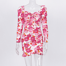 Load image into Gallery viewer, Spring Pink Floral Shoulder Long Sleeve Dress