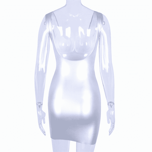 Silver Reflective Sexy Bodycon Mini Dress