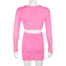 Load image into Gallery viewer, Irresistible - Hairy Long Sleeve crop top and miniskirt two piece sets